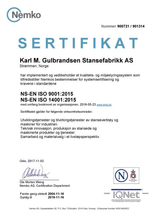 79db82d9 KMG er ISO 9001:2015 og. ISO 14001:2015 sertifisert bedrift